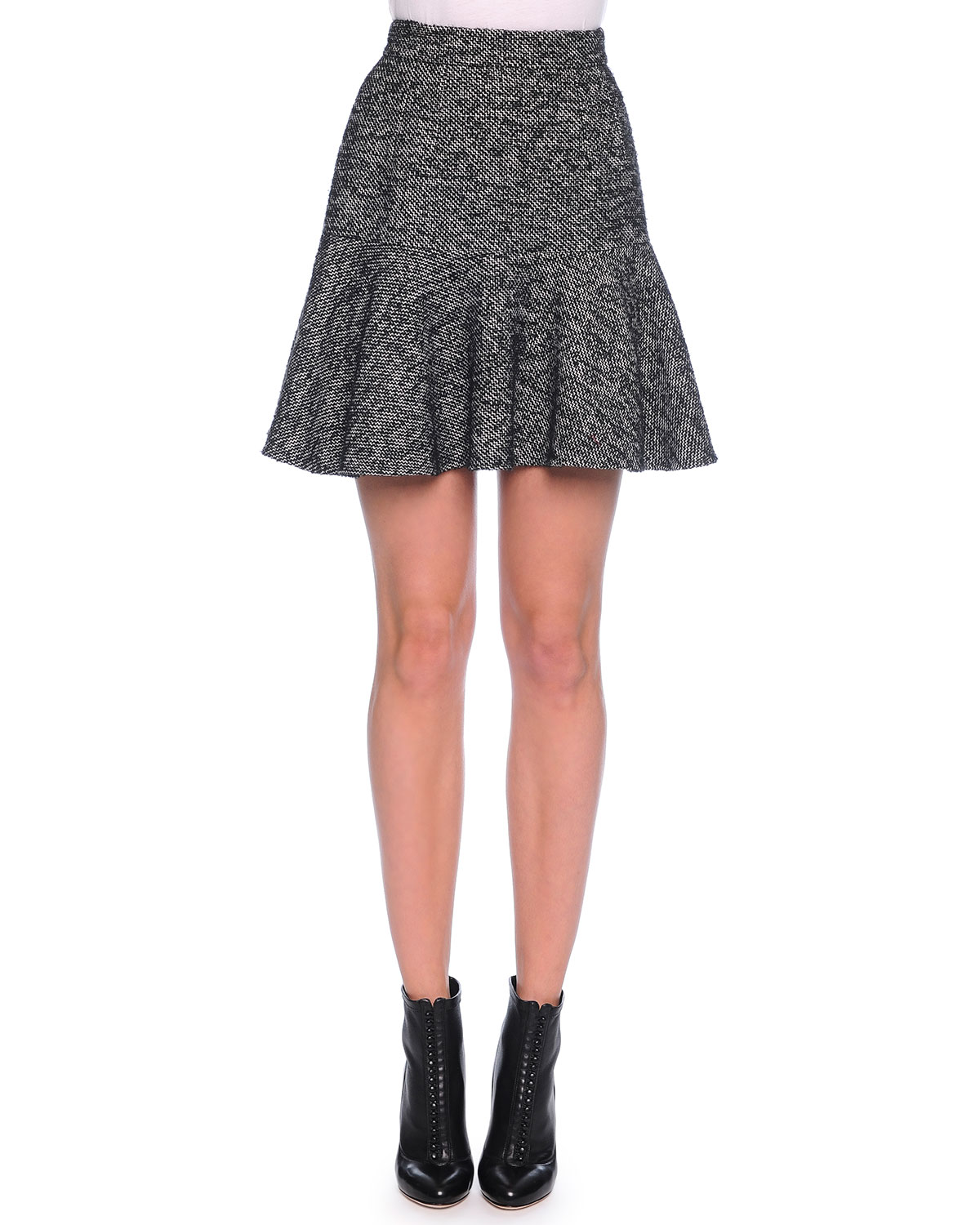 Fit-and-Flare Tweed Skirt, Dark Gray