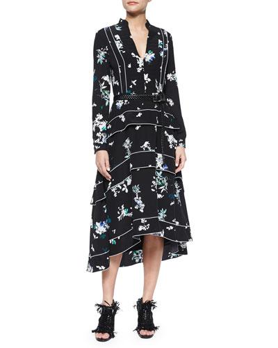 Ruffle-Tiered Floral-Print Midi Dress