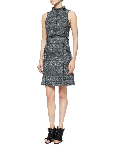 Sleeveless Stand-Collar Tweed Dress