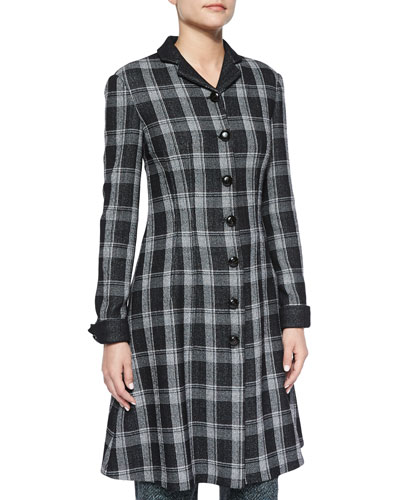 Woven Plaid Flared Shirtdress