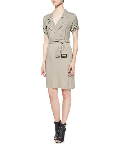 Short-Sleeve Wrap Trench Dress