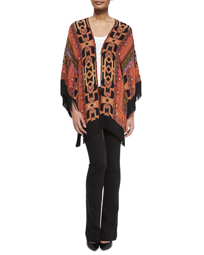 Geometric Silk Fringe Jacket
