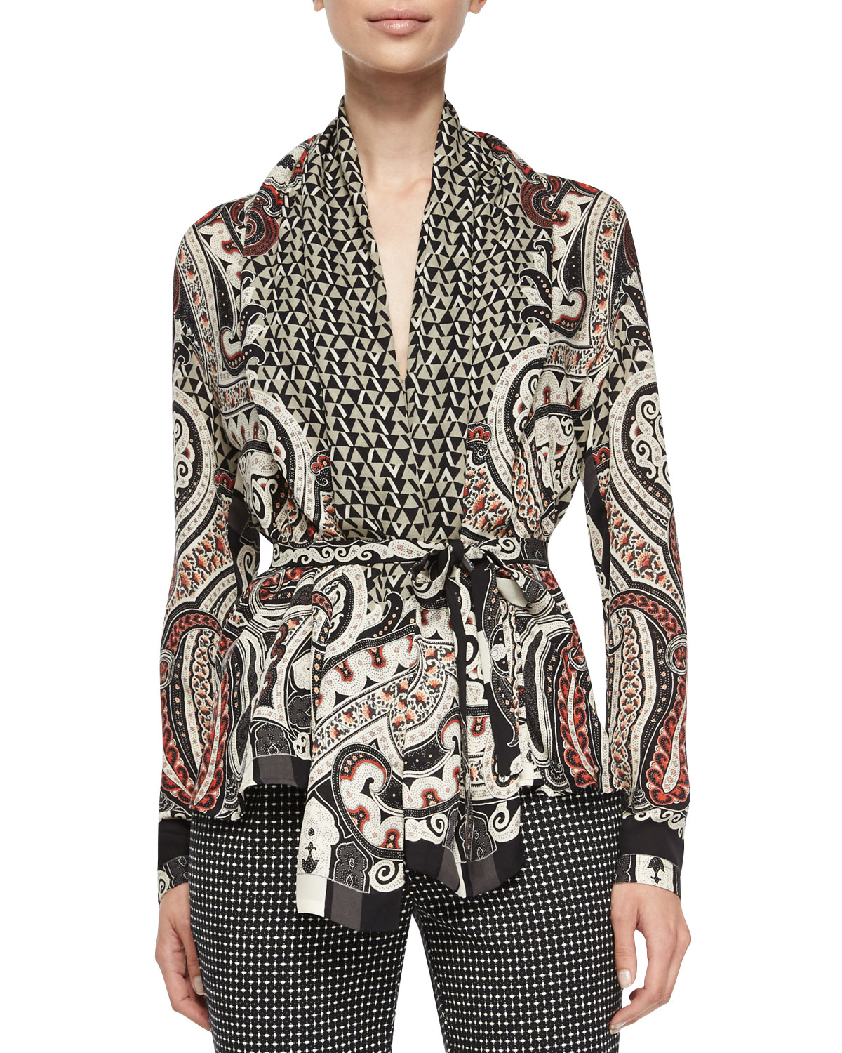 Paisley-Print Wrap Blouse w/ Belt