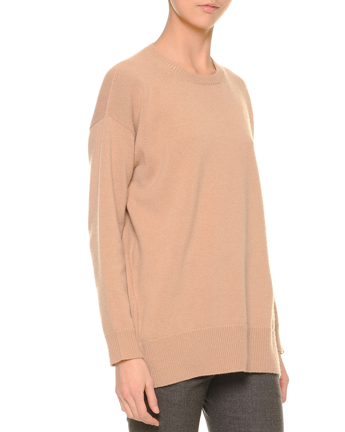 Felted Cashmere Knit Tunic Sweater, Camel