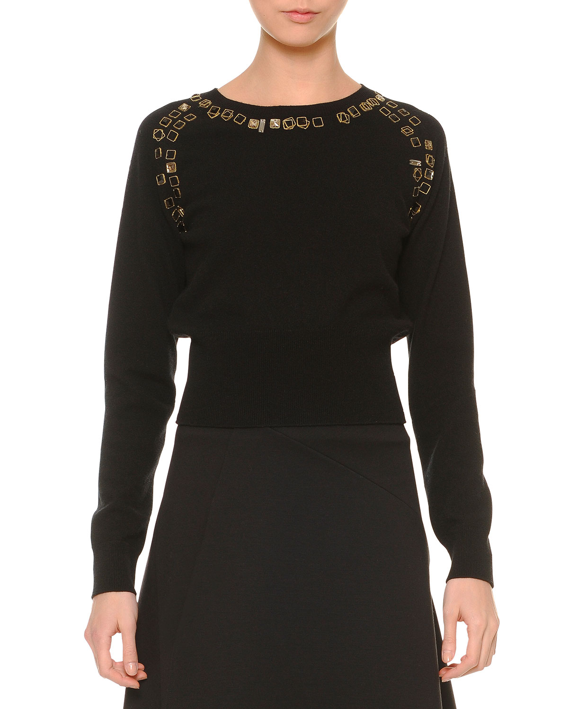 Cashmere Embellished Dolman-Sleeve Sweater