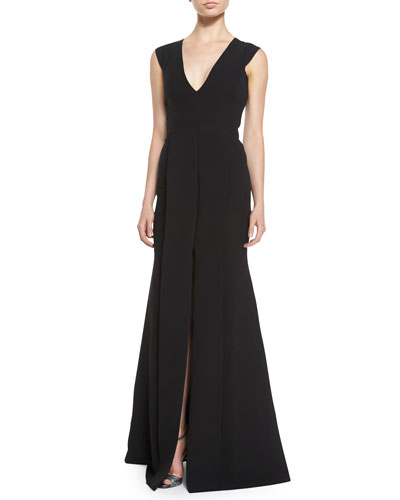 V-Neck Front-Seamed Gown