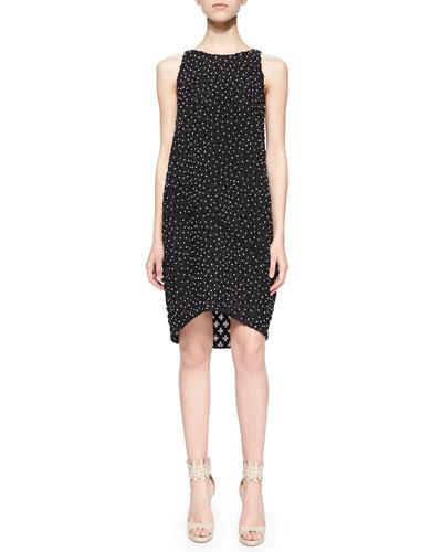 Sleeveless Bead-Embellished Shift Dress, Black