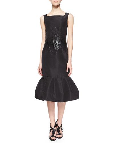 Sequined-Waist Flounce Hem Dress