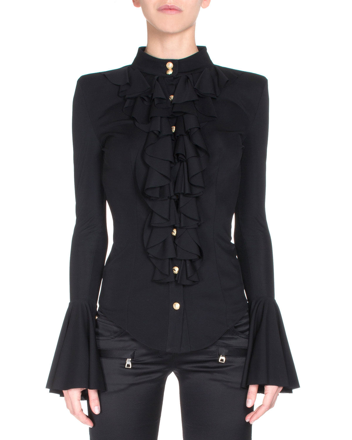 Button-Front Ruffle Blouse, Black