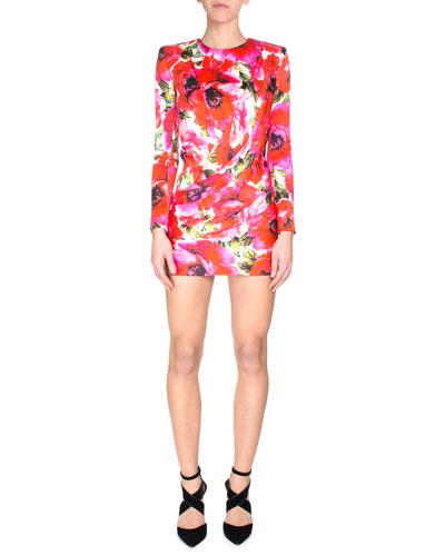 Floral-Print Long Sleeve Mini Dress