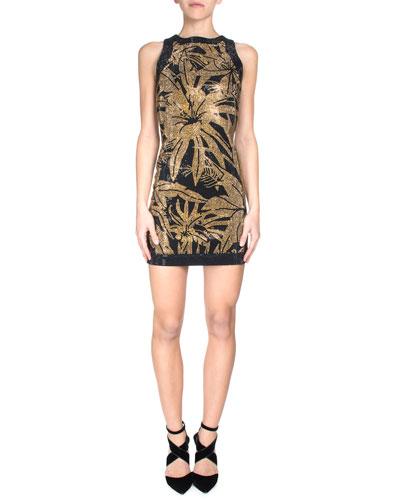 Stud Embellished Sleeveless Dress, Black/Gold