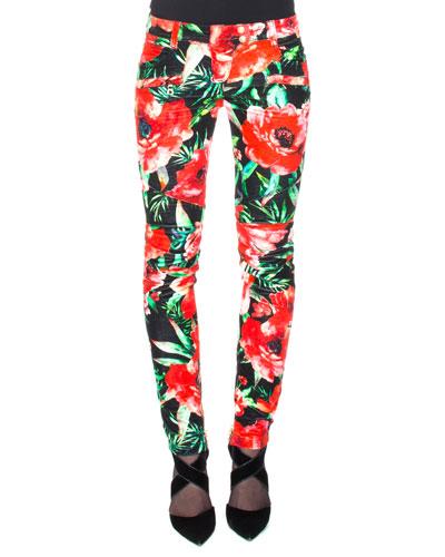 Floral-Print Biker Pants