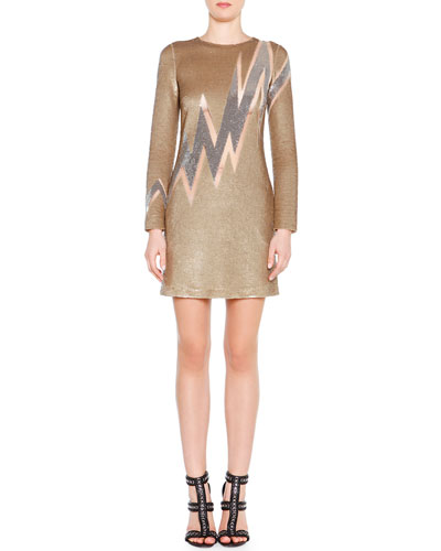 Beaded Lightning Bolt Mini Dress