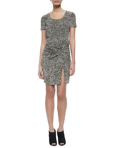 Freeda Short-Sleeve Printed Dress W/ Ruched Detail
