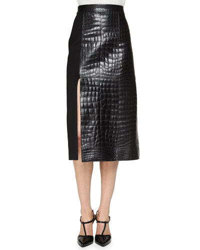 Croc-Embossed Leather Paneled Skirt