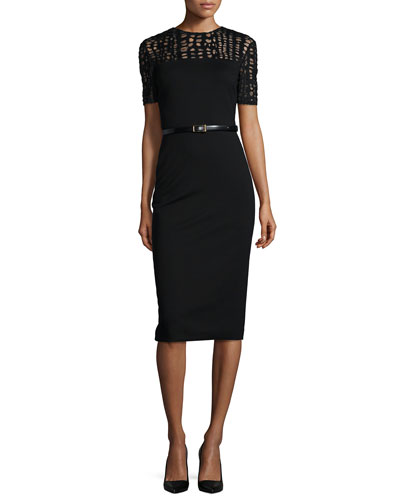 Lace-Yoked Jersey Sheath Dress