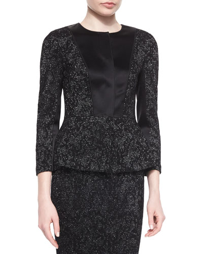 Subtle Floral Pattern Sparkle Knit Peplum Jacket