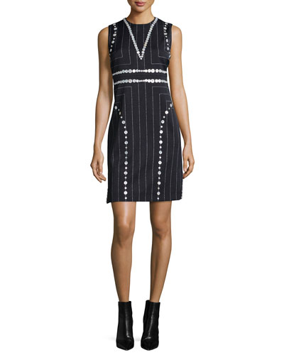 Square Pinstripe Button-Trimmed Sheath Dress