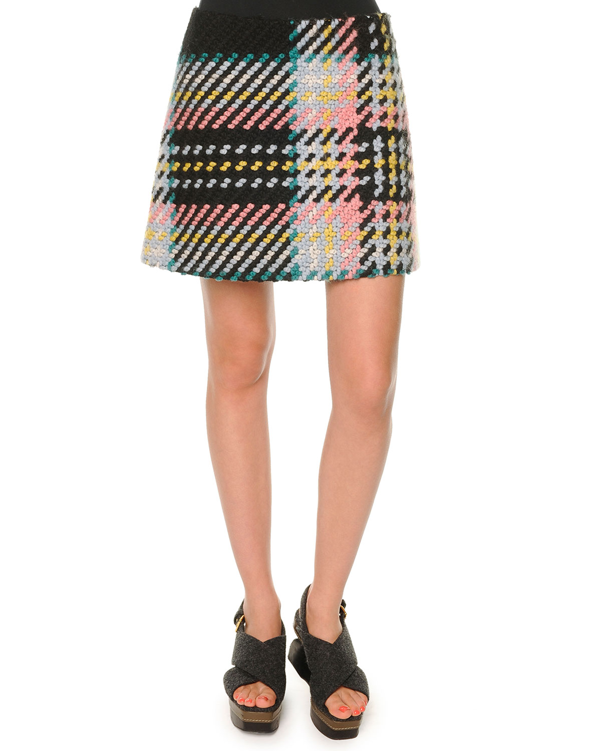 Marco Plaid Tweed Skirt, Camelia