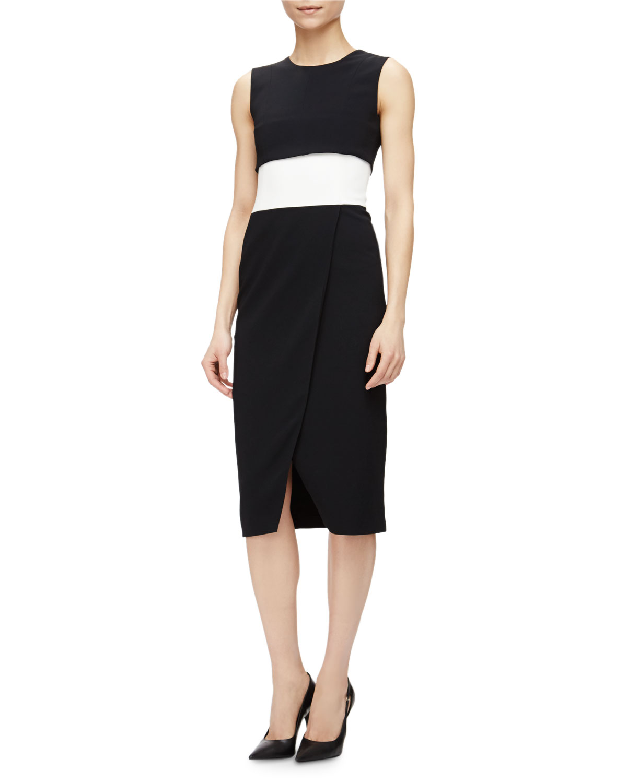 Sleeveless Colorblock Faux-Wrap Dress