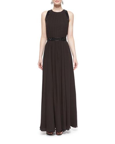 Sequin-Trim Silk Georgette Gown