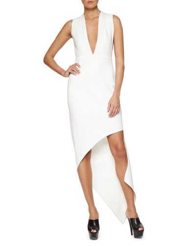 Plunging Asymmetric Crepe Dress