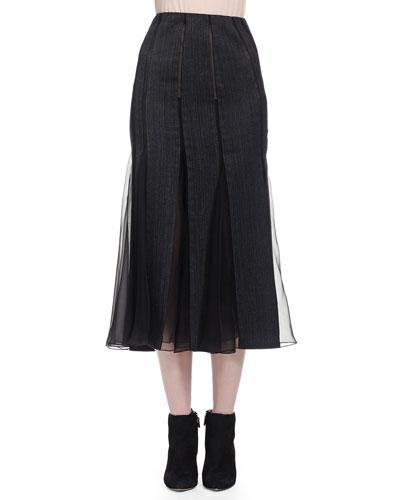 Pieced Chiffon-Paneled Midi Skirt