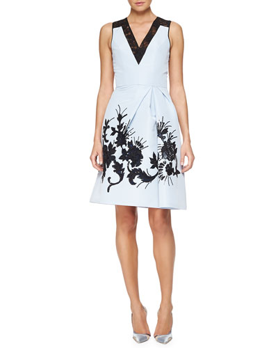 Floral-Embroidered Faille Cocktail Dress