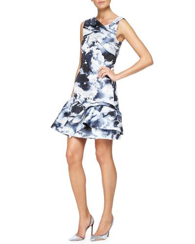 Cloud Jacquard Layered Ruffle Dress