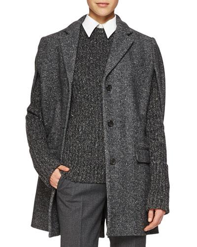 Herringbone Three-Button Cape Jacket