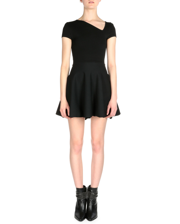 Asymmetric Pleated Mini Dress