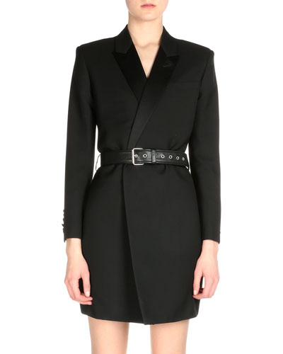Asymmetric Tux Wrap Dress