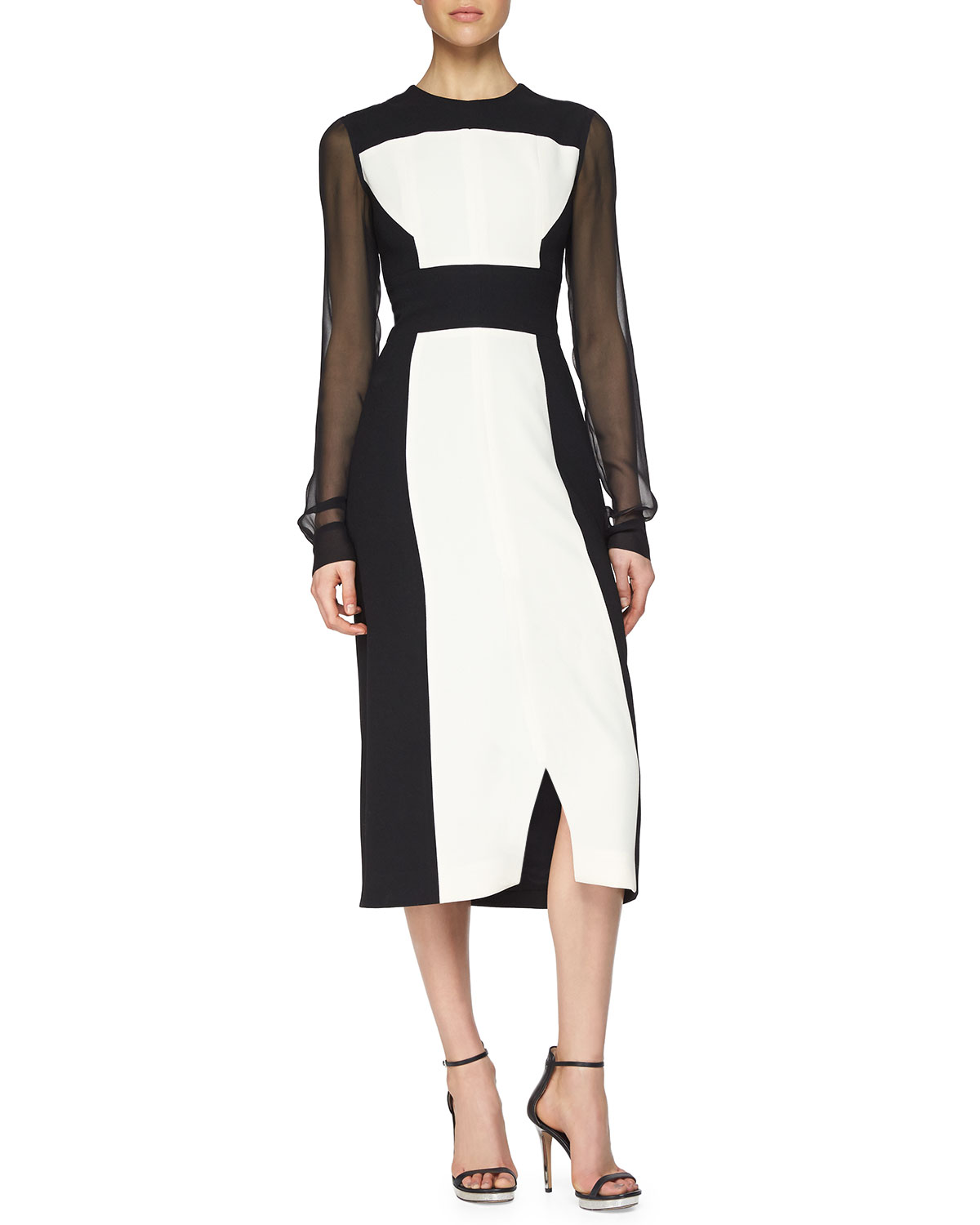 Colorblock Sheer-Sleeve Midi Dress