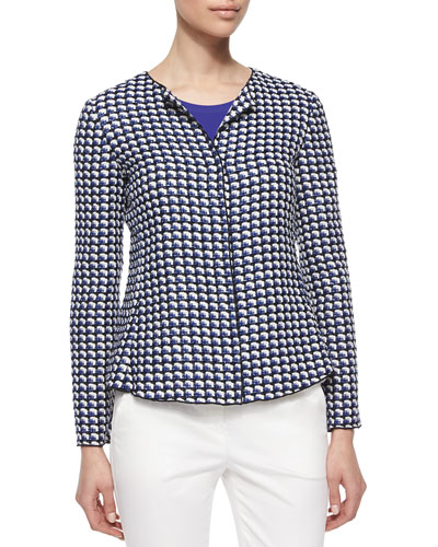 Geometric Pattern Woven Cardigan