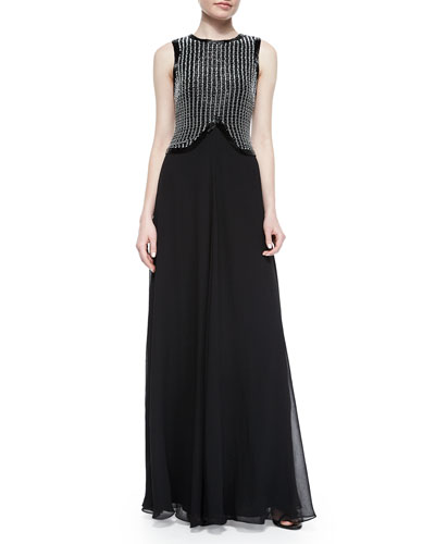 Embroidered-Bodice Chiffon Gown, Black/White