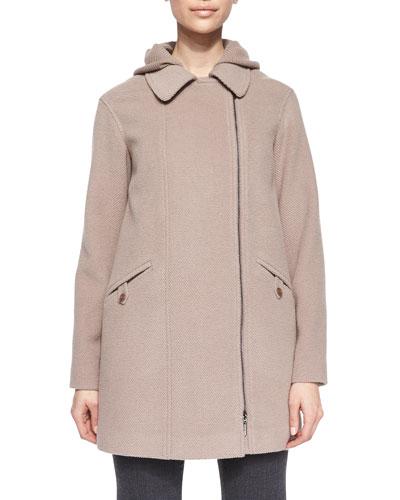 Zip-Front Removable Vest Coat, Dusty Rose