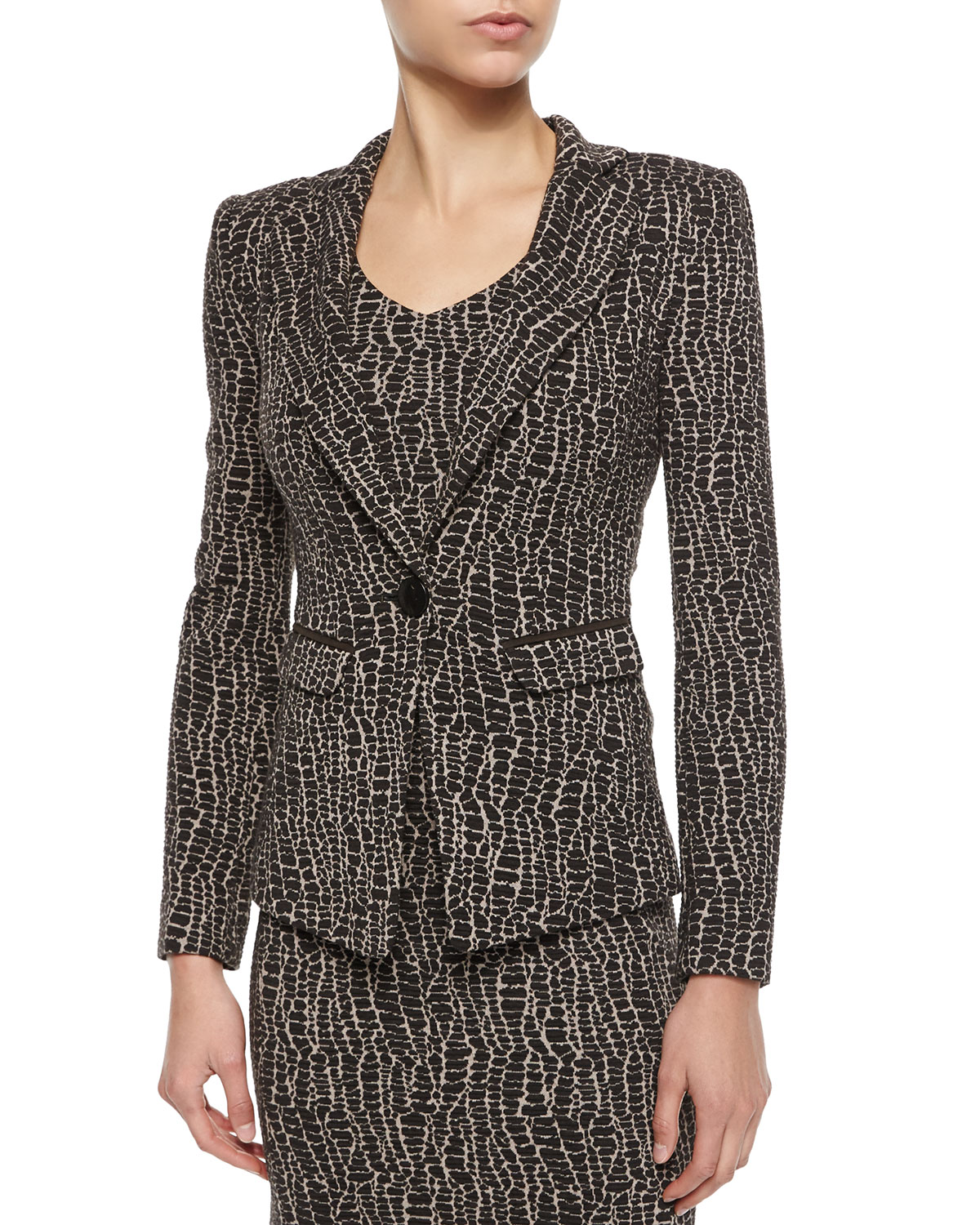 Animal-Print One-Button Blazer