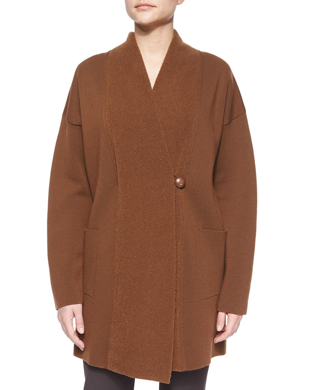 Asymmetric-Front Oversized Sweater Jacket