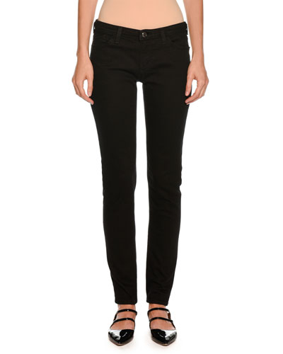 Straight-Leg Skinny Ankle Pants, Black