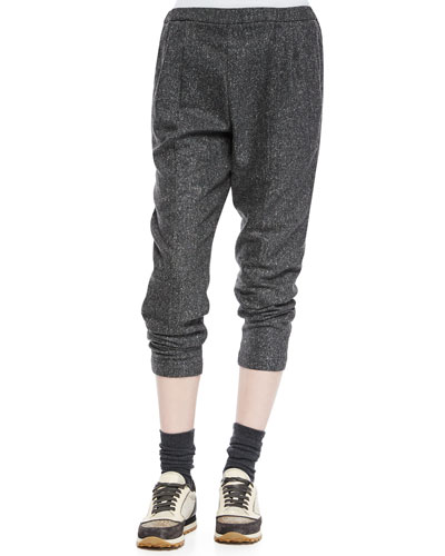 Tweed Cropped Harem Pants