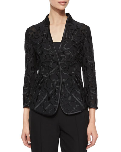 Embroidered Tulle Jacket, Black