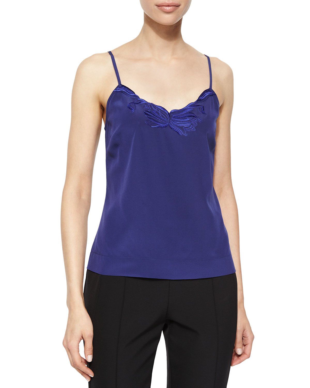 Floral-Embroidered Camisole, Ink