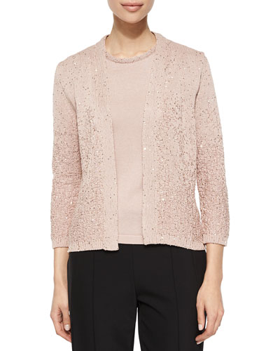 Sequin Yarn Cardigan, Gloss Pink