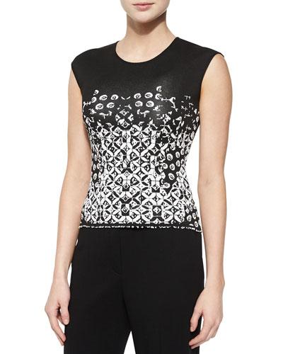 Twirling-Flower Pattern Top, Black/White