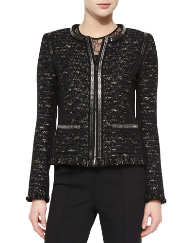 Dondi Zip-Chain Jacket, Black