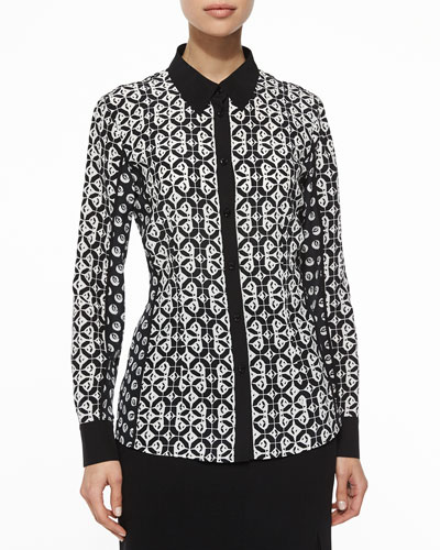 Graphic Floral Mixed-Print Blouse, Black/White