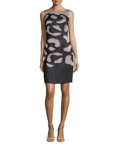 Sleeveless Two-Tone Ribbed Dress, Black/Nude