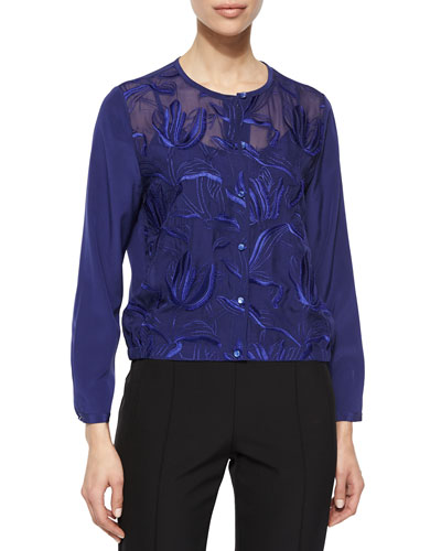 Climbing Floral Embroidered Blouse, Ink