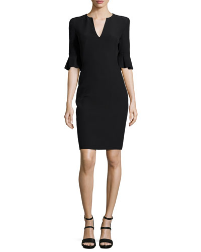 Bell-Cuff V-Neck Sheath Dress, Black