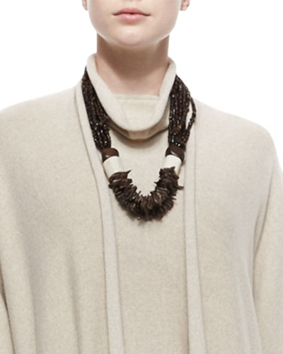 Carved Coconut Beaded Necklace